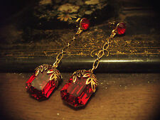 Vintage Style Ruby Red Crystal Drop Pierced Earrings