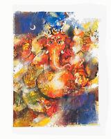 Peinture Da Elefante Ganesh Artista Noto Nepal Artigianale Capolavoro Unica 8490