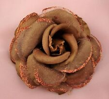 """4"""" BROWN SILK  AND ORGANZA ROSE FLOWER BROOCH/CLIP OR CORSARGE"""