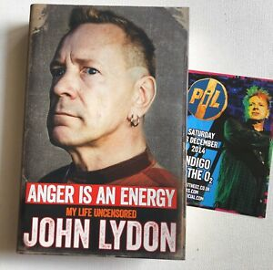 JOHN LYDON - ANGER IS AN ENERGY HAND SIGNED BOOK AUTOGRAPHED ROTTEN SEX PISTOLS