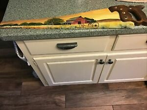 """Painted Warranted Superior Saw 26"""" Vtg Antique Folk Art Rustic Signed L Connolly"""