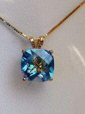 "Petite Cushion-Cut 2.2ct 8mm Aqua Topaz Blue Green Necklace 14K Yellow Gold 18"""