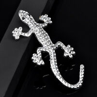 1x Auto Aufkleber 3D Chrom Emblem Gecko, Eidechse Logo Metall Silber Farbe B3P3
