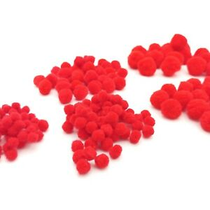 Red Pom Poms Choose Size 8 10 15 20 or 25mm Pack Size 25-500 Xmas Craft Pompoms