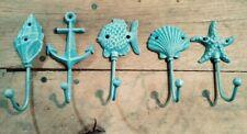 Nautical Beach Ocean Shore Anchor, Shell Starfish Towel Coat Wall Hook Cast Iron