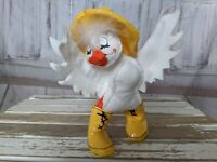 Vintage Annalee Doll Duck in Yellow Rain Boos with Hat Easter Holiday Decor 7″