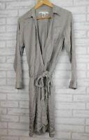 Diane Von Furstenberg DVF Silk mix wrap dress Grey Long sleeves Sz US8