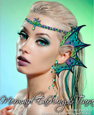 Xotic Eyes Mermaid Ear Wings Wing & Tiara Fairy Costume Glitter Crystal Tattoo