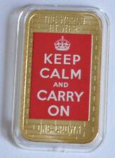 2014 Tristan da Cunha Large Gold plated Color 1 Cr WWII Propaganda-Keep Calm