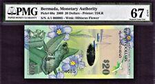 Bermuda $20 Hybrid Polymer 2009 1st Prefix LOW # A/1 000085 P-60a GEM UNC PMG 67