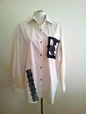 Maggie Potter (NZ) size 16 white & black cotton blend long sleeve shirt