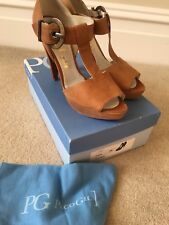 Fab Light Tan Nubuck Paco Gil peep toe Ladies Shoes - size 39 UK6