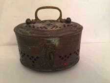 """Vintage Brass Cricket Box Marked """"68""""  Handled with Red Lining 6""""L x 4""""w x 3.5""""h"""