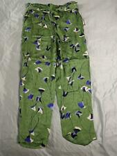 Eva Mendes Women's Belted Patterned Casual Pants MW7 Green Medium NWT
