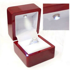 Luxury Cherry Polish Diamond Jewelry Ring Box With Led Light Engagement Wedding
