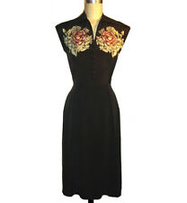 RARE!!! TRASHY DIVA SPOT ROSE DAY DRESS novelty 1940s print silk vintage retro