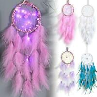 LED Light Dream Catcher Feather Craft Wall Car Hanging Decor Ornament Xmas Gift