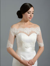 Half Sleeves Appliques Lace Bridal Bolero Wedding Jackets Off the Shoulder Wrap