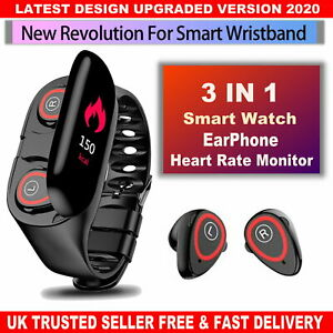 M1 Smart Band Watch Bluetooth 5.0 Smart Bracelet Wristband Tracker Heart Rate-UK