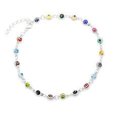 """Multi-Color Evil Eye Beads Anklet Bracelet on 925 Sterling Silver 8.5"""" to 9.5"""""""