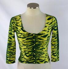 BETSEY JOHNSON Green Tiger Stripe Angora Wool Knit Crop Cardigan Sweater Top S