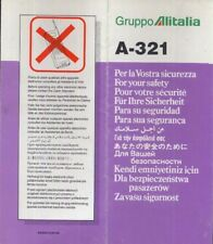 ALITALIA Italian Airline SAFETY CARD A 321 Folder brochure memorabilia sc804 aa
