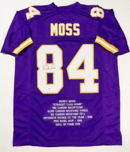 Randy Moss Autographed Purple Pro Style Stat Jersey - Beckett W Auth *8