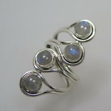 Ring mit 4 Labradorit Cabochon 925 Silber Gr. 56 Silberring RIESIG!