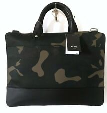 Jack Spade New Slim Brief Camo Waxwear Briefcase Leather NYRU2646 RARE NWT $398