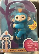 WowWee Fingerlings Baby Monkey Boris Blue Interactive Reacts Touch Motion Sound