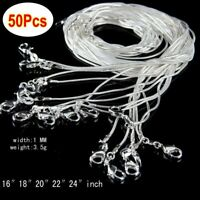"""50Pcs 1mm 925 Silver Plated Snake Necklace Classic Chain 16"""" 18"""" 20"""" 22"""" 24"""""""
