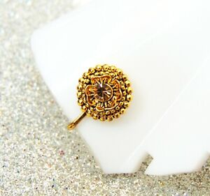 Indian Designer Nath Gold Plated Nose Ring Clip Nose Ear Pin Women Gift Jewelry
