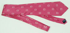 Nautica Pink & Squares Geometric Pattern Silk Tie