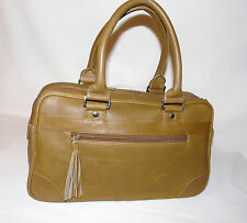 BNWT Stefano Orgo Bowler / Baguette Shape Hand Bag in Tan brown Leather
