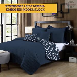 Ramesses 7 Piece Bamboo Reversible Comforter Set 2-Sided Coverlet Quatrefoil Set