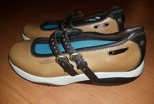 MBT 400122-52 Women Tan Brown Leather 2 Buckle Mary Jane Shoe 9M Pre Owned
