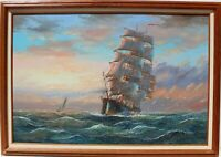 Large  oil painting on canvas, seascape,Sailing ships on the ocean,Signed,framed