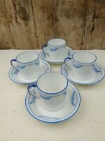 4 x Antique Coffee Cans / Cups & Saucers c1905 Blue Garland Blyth Porcelain Co