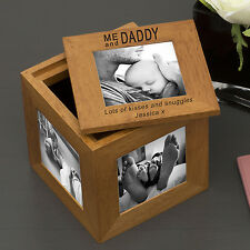 Personalised Engraved Me and Daddy Oak Photo Cube Gift Idea For Dad