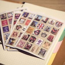 4sheets 80pcs Vintage UK Gueen/Big Ben/London eye streetscape Stamp Stickers EJ7