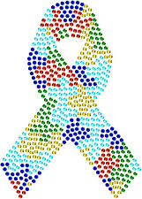 Autism Awareness Ribbon Cure Puzzle Rhinestone Bling Hotfix Iron On Transfer