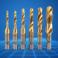 "6Pcs Metric Thread M3-M10 Titanium Coated HSS Drill and Tap Bits 1/4"" Hex Shank"