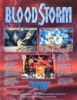 Strata 1994 BLOOD STORM Original Video Arcade Game Promo Flyer Fighting Nice Art