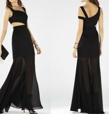 NWOT BCBG MAX AZRIA Roxana Black  Cut-Out Sheer Bottom Gown Size 4