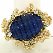 Estate 14K Yellow Gold 11.2ctw Large Carved Lapis & Diamond Nugget Cocktail Ring