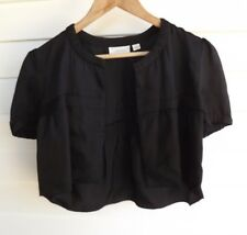 Country Road Women's Cropped Black Open-Front Jacket Top - Size XS