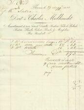 Ricevuta di Charles Molknecht Ricamo e Pizzo alla Marchesa di Salza Firenze 1840