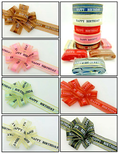Happy Birthday Ribbon Printed Gift Ribbon With Gold Edging 25mm 1 Or 5 Meters