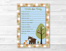 Bear Fox Owl Forest Friends Printable Baby Shower Wishes for Baby Advice Cards