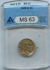 1929-S Buffalo Nickel 5c ANACS MS 63